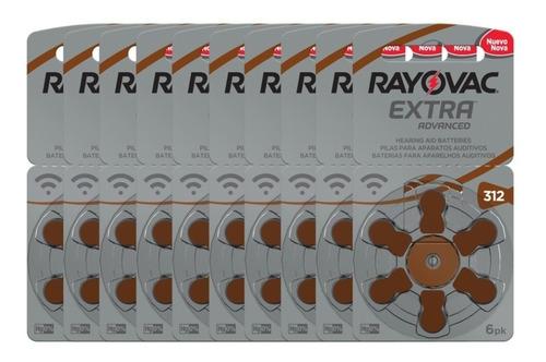 60 Pilhas Auditivas Rayovac Tamanho 312/ P312 / Pr41