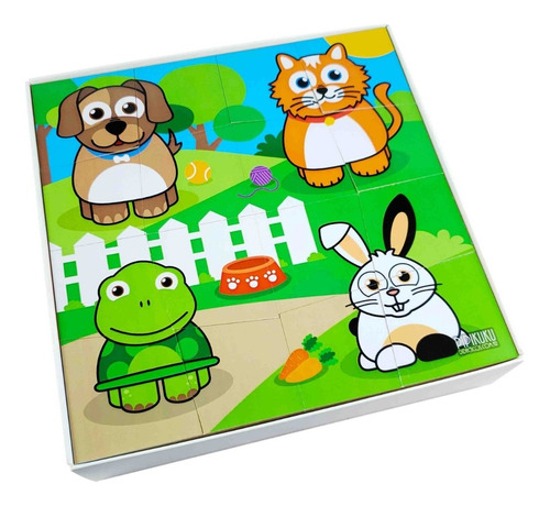 Imagen 1 de 2 de Rompecabezas Mascotas De Madera E Imán De 16 Piezas Pipikuku