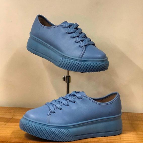 Tênis Beira Rio Azul Jeans Plataforma Verão 2020 - Lj Att