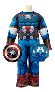 Disfraz De Capitan America Musculoso Talle 1
