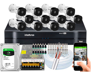 Kit Cftv 12 Câmeras Intelbras Vhd 1120b G5 Hd 720p 20 Metros