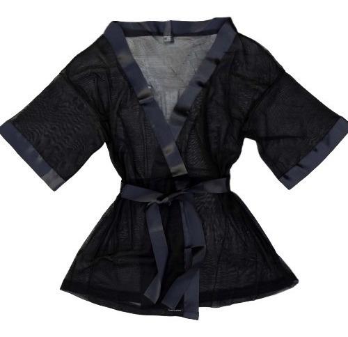 Kimono Bata Tul Raso Lencería Femenina Sexy Secretos Intimos