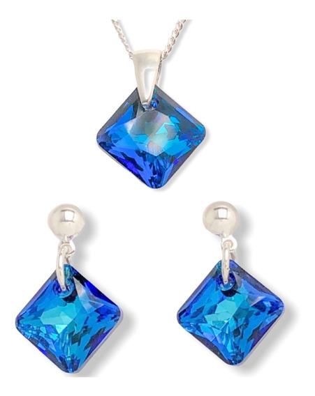 Conjunto Dije Cristal De Swarovski Cadena Y Aros 11 Mm Plata