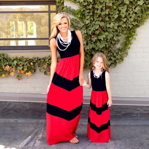 Vestido Largo Negro/rojo Madre E Hija Verano Casual Boho