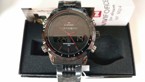 Relógio Naviforce Cromonegro-vermelho