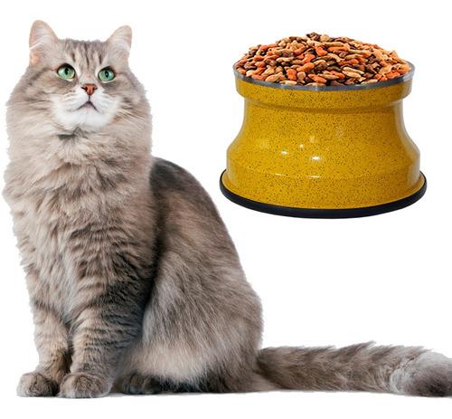 Imagem 1 de 2 de Comedouro Alto Gatos Alumínio Amarelo Gastrobel + Brinde