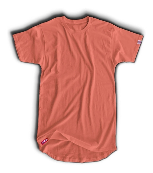 Kit 3 Camiseta Longline Masculina C35 Rosa - Salmão - Bordô