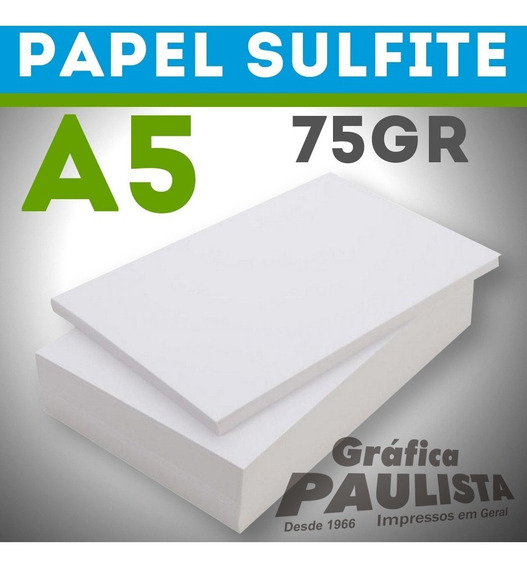 Papel Sulfite Branco Offset A5 75gr 2000 Folhas