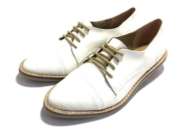 Zapato De Mujer En Punta Acordonado Croco (54/145)