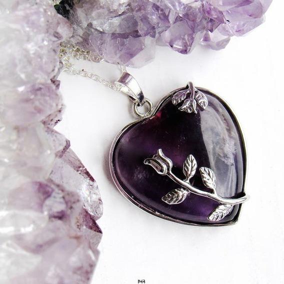 Collar Auténtico Cuarzo Amatista Corazón Floral Cadena Acero