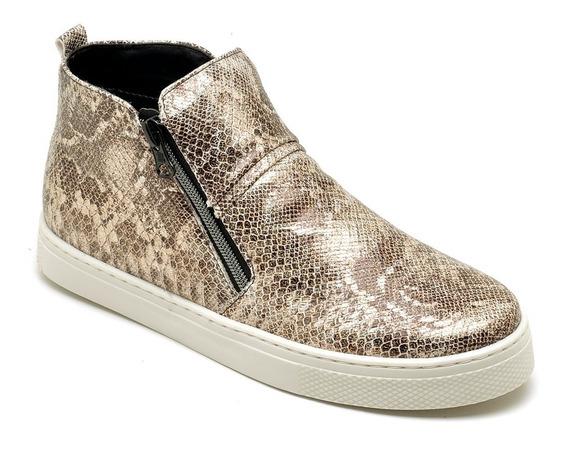 Tênis Sapato Em Couro Cano Alto Confortavel