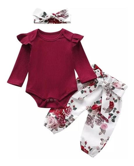 Conjunto Infantil Body Manga Longa E Calça Clochard Floral