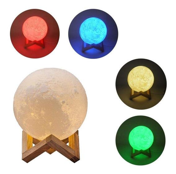 Luminária Decorativa Abajur Lua Cheia 3d 16 Cores Controle