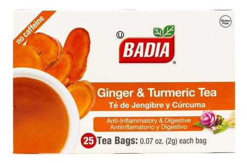 Imagen 1 de 3 de Te Jengibre Y Curcuma Badia 25 Antiinflamatorio Digestivo