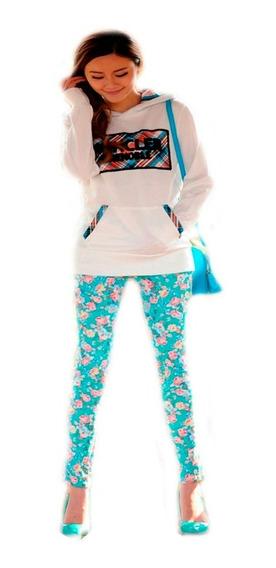 Calça Estampada Feminina Social Floral Com Elastano