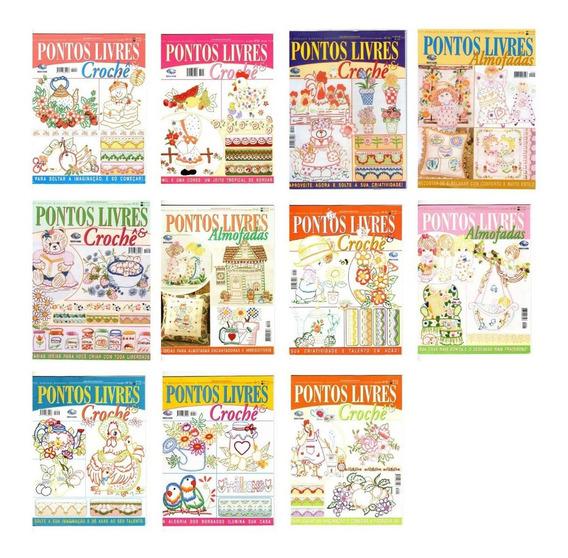 Kit 11 Revistas Bordado Pontos Livres & Crochê