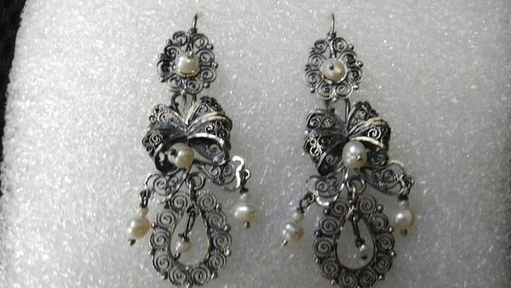 Aretes De Filigrana De Plata Oxidada Jardines Con Perlas