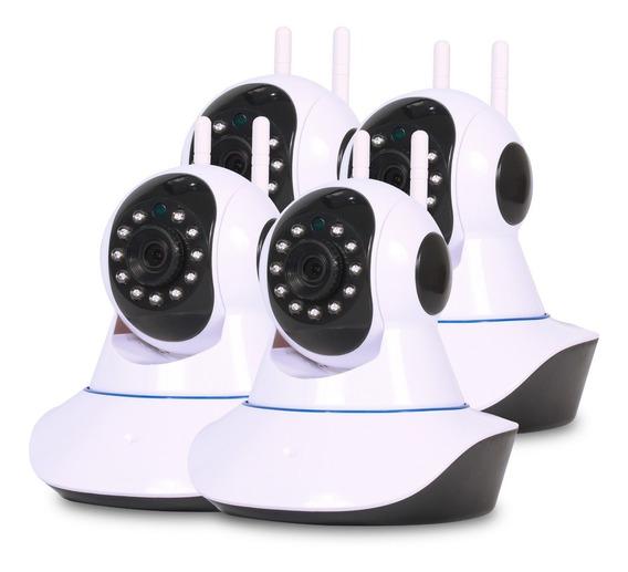 Kit 4 Câmera Ip Wifi Visão Noturna Disparo De Alarme E Áudio