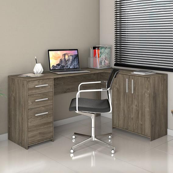 Mesa Escritório Escrivaninha Em L Office 2 Gavetas Canela