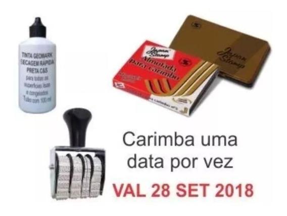 Tinta Secagem Rápida + Almofada + Datador Com Validade
