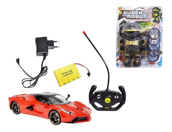 Carrinho De Controle Remoto Com Carregador 1:14 + Super Robô