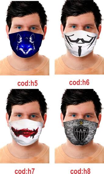 Máscara Lavável Tecido Gabar Com Algodão-elástico 4 Unid