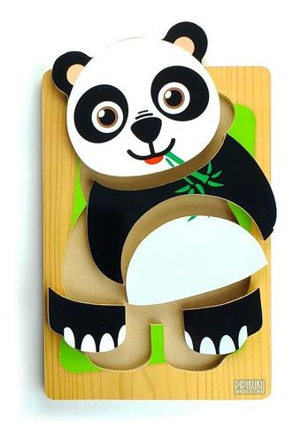 Rompecabezas Panda 5 Piezas De Madera Juego Pipikuku