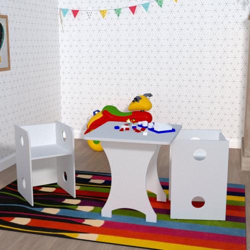 Kit Infantil Mesa E 2 Bancos Clei Caroti Kit Cubos Bd