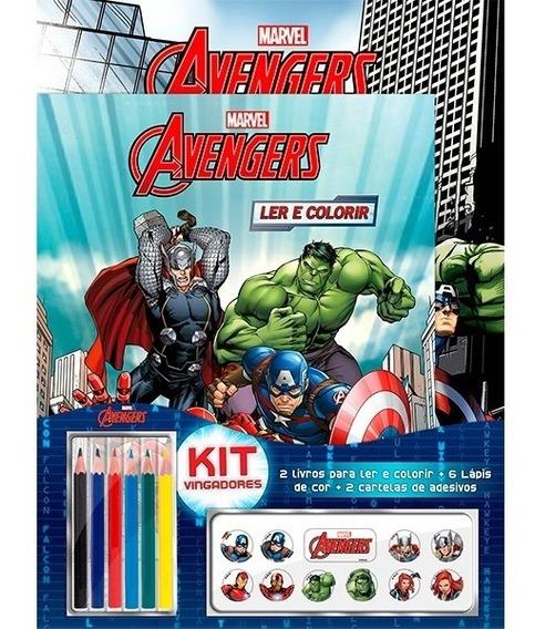 Vingadores Kit Com 2 Livros Colorir + 6 Lápis + Adesivos Off