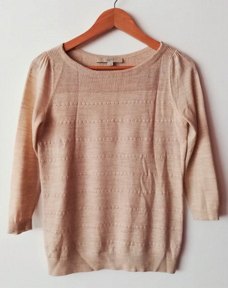 Sweater Color Beige Con Diseño Entramado Loft Talle Xs