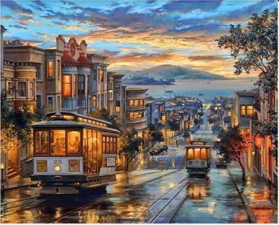 Pintura Numerada Bondes De Sao Francisco