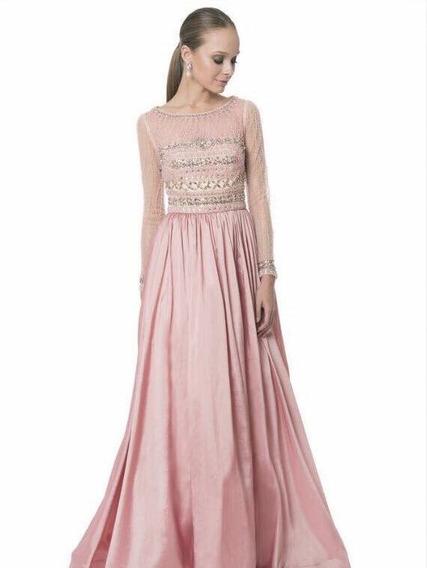 Vestido De Noche Terani Couture Rosa Palo, Pedrería