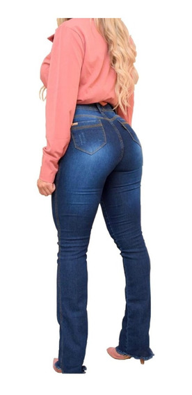 Calça Jeans Feminina Flare Cós Alto Levanta Bumbum Hot Pants