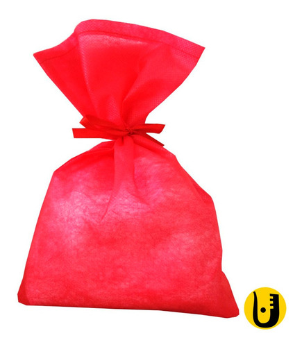 50 Saquinhos Sacolinhas Tnt 15x23 Vermelho Fita Vermelho