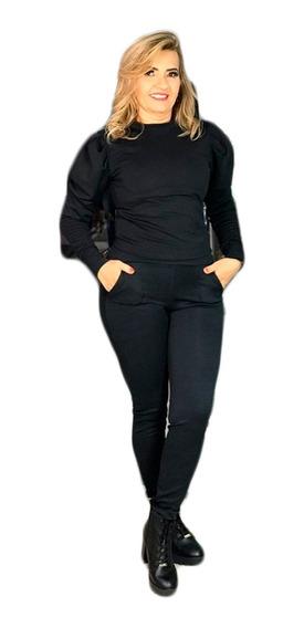 Roupa De Frio Estilosa Feminina Conjunto Calça E Blusa Linha