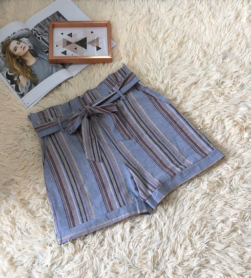Short Feminin Listrada Cintur Alta Laco Amarrado Bolso Linho