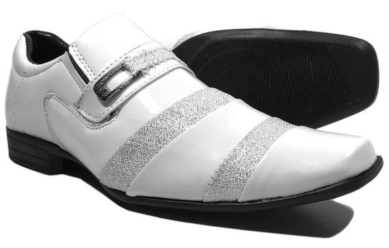 Sapato Social Masculino Branco Brilhoso Casamento Barato