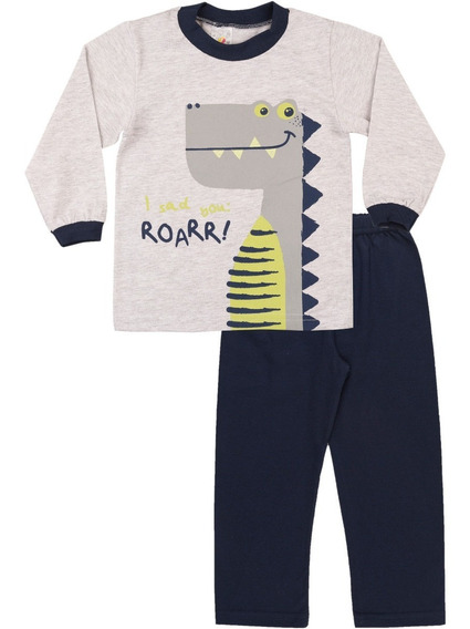 Pijama Bebê Menino Longo Inverno Estampa Brilha No Escuro