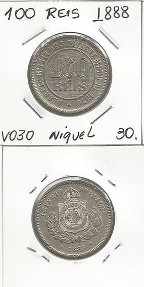 100 Reis 1888 V030 Niquel Moeda Brasil -0037