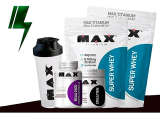 Kit 2x Whey 900g + Bcaa + Creatina + Shaker - Max Titanium