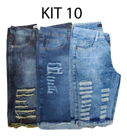 Kit Com 3 Bermudas Short Bermuda Jeans Sarja Masculino