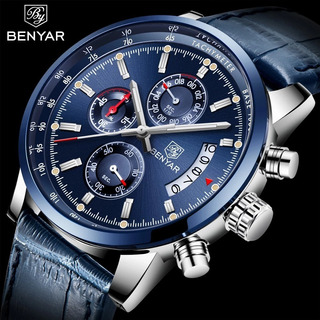 Reloj Benyar 5102 Pa Deportivo Cuero Cronografo Azul Caja
