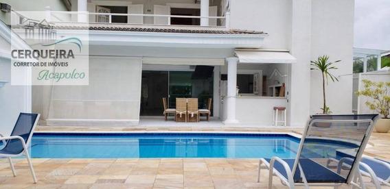 Casa Com 5 Dormitórios Para Alugar, 420 M² Por R$ 3.500/dia - Acapulco - Guarujá/sp - Ca0567