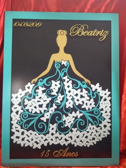 Quadro De Assinatura Vestido De Debutante + 10 Lembrancinha