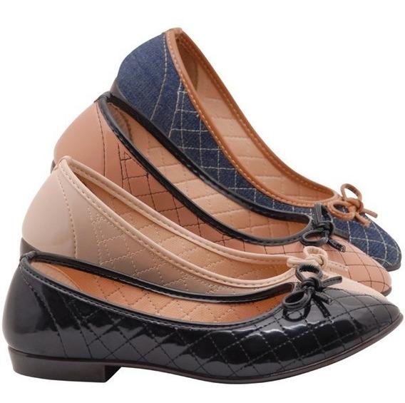 Kit 4 Sapatilhas Feminina Sbelta Confortável Sapato Moleca
