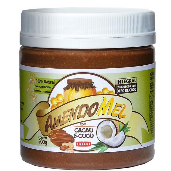 5 Pasta De Amendoim Amendomel 500g Cacau E Coco Sem Açúcar