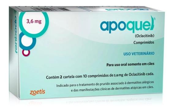 Apoquel Dermatológico Cães 3,6 Mg - 20 Comp. Val. Dez/20