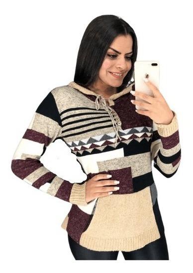 Blusa Tricot Trico Com Capuz Patchwork Inverno