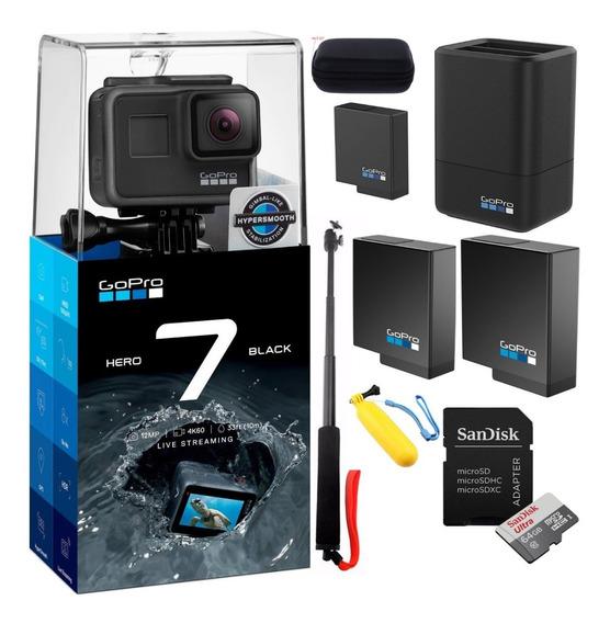 Gopro Hero7black+2bat+carduplo+cartao 64gb+flut+selfie+case