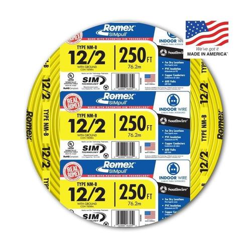 Imagen 1 de 5 de Cable Electrico Forrado 12/2 Awg + Cable Tierras 250 Ft, Lw